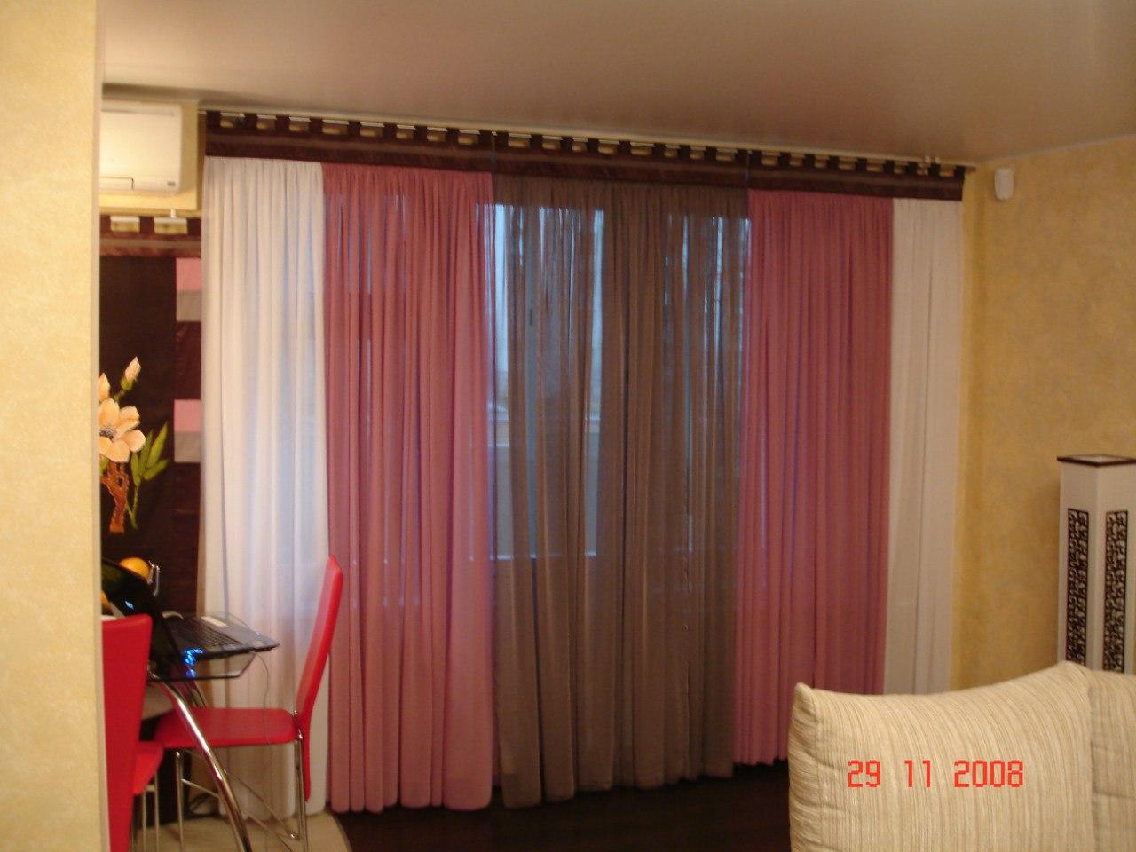 Дизайн тюли двух цветов